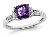1.75 Carat (ctw) Cushion-Cut Amethyst Ring in 14K White Gold with Diamonds