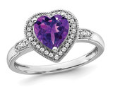 1.45 Carat (ctw) Amethyst Heart Ring in 14K White Gold with Diamonds