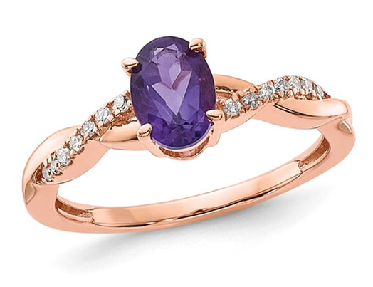 3/4 Carat (ctw) Amethyst Ring in 14K Rose Pink Gold with Diamonds