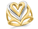 14K Yellow & White Gold Polished Heart Promise Ring