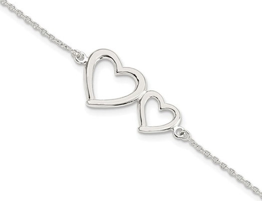 Sterling Silver Polished Two Hearts Bracelet