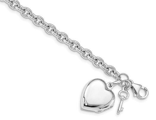 Sterling Silver Puffed Heart Locket Bracelet with Keys