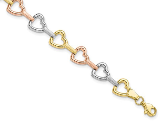 10K Yellow, White, Pink Gold Heart Bracelet (7.50 Inches)