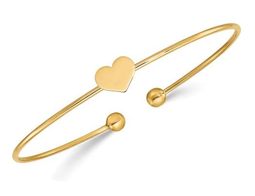 14K Yellow Gold Heart Bangle Bracelet