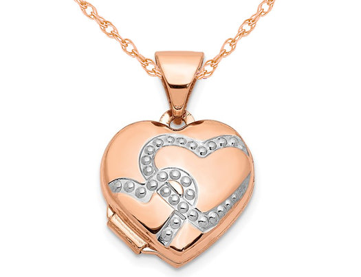 14K Rose Pink Gold Heart Locket Pendant Necklace with Chain