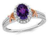 1.00 Carat (ctw) Amethyst Halo Ring with Diamonds in 14K White Gold