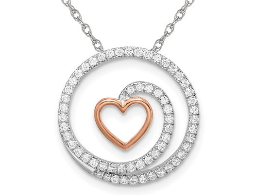 3/10 Carat (ctw) Diamond Spiral Heart Pendant Necklace in 14K White Gold with Chain