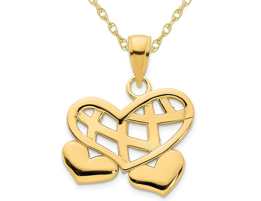 14K Yellow Gold Double Heart Weave Charm Pendant Necklace with Chain