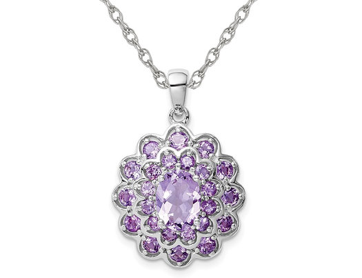 1.90 Carat (ctw) Amethyst Flower Pendant Necklace in Sterling Silver with Chain
