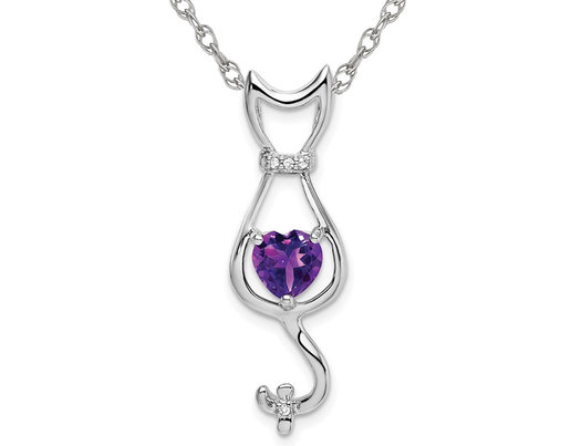 1.00 Carat (ctw) Amethyst Cat Pendant Necklace in 10K White Gold with Chain