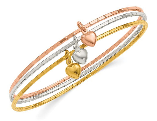 Tri-Color Puffed Heart Bangle in Plated Sterling Silver