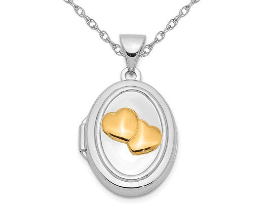Tree Oval Locket Pendant in Sterling Silver with Chain