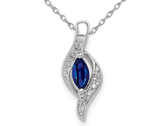 1/4 Carat (ctw) Natural Blue Sapphire and Accent Diamond Pendant Necklace 14K WhitevGold with Chain