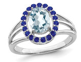 1.40 Carat (ctw) Aquamarine and Blue Sapphire Ring in Sterling Silver