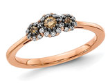 1/4 Carat (ctw) Three-Stone Champagne Diamond Promise Ring 14K Rose Pink Gold