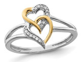 Sterling Silver Yellow Plated Heart Promise Ring with Accent Diamonds