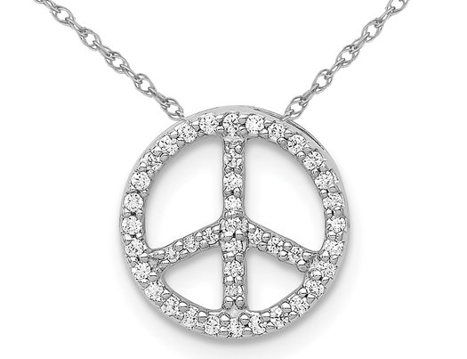 14K White Gold Peace Sign Pendant Necklace with Diamonds and Chain