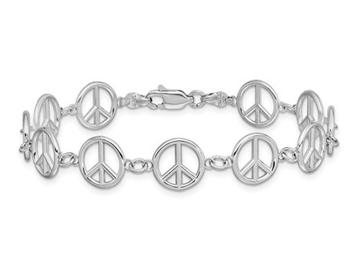 14K White Gold Peace Sign Bracelet (7.50 Inches)