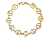 14K Yellow Gold Peace Sign Bracelet (7.50 Inches)
