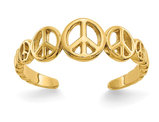 14K Yellow Gold Peace Sign Toe Ring