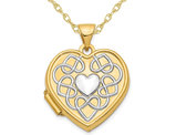 14K Yellow Gold Heart Locket Pendant Necklace with Chain