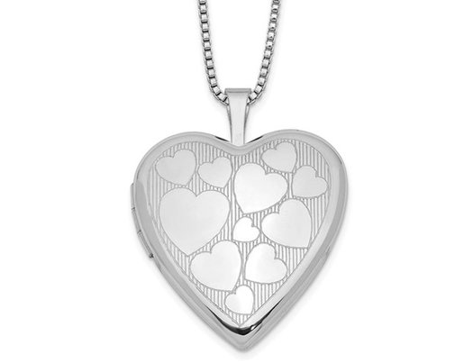 Sterling Silver Heart Shaped Floating Hearts Locket Pendant with Chain