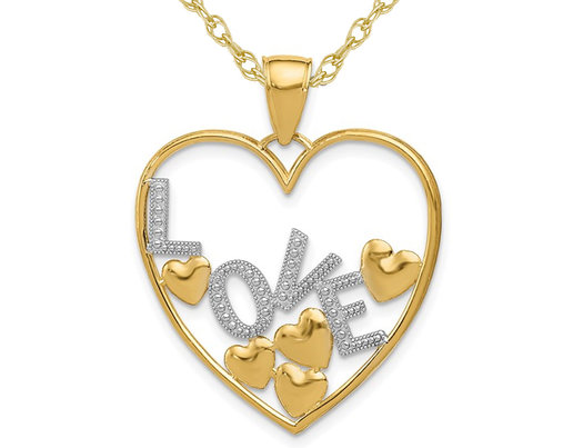14K Yellow Gold LOVE Floating Hearts Pendant Necklace Charm with Chain