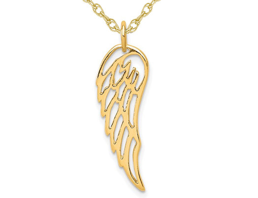 Yellow Plated Sterling Silver Angel Wing Charm Pendant Necklace with Chain