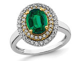 1.90 Carat (ctw) Lab-Created Emerald Halo Ring in 14K White Gold with Lab-Grown Diamonds