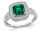 1.30 Carat (ctw) Lab-Created Emerald Ring in 14K White Gold with Diamonds