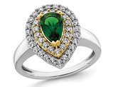 1.00 Carat (ctw) Lab-Created Emerald Teardrop Ring in 14K White Gold with Lab-Grown Diamonds