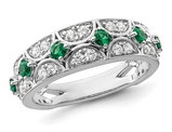 1/2 Carat (ctw) Lab-Created Emerald Band Ring in 14K White Gold with Lab-Grown Diamonds 1/3 Carat (ctw)