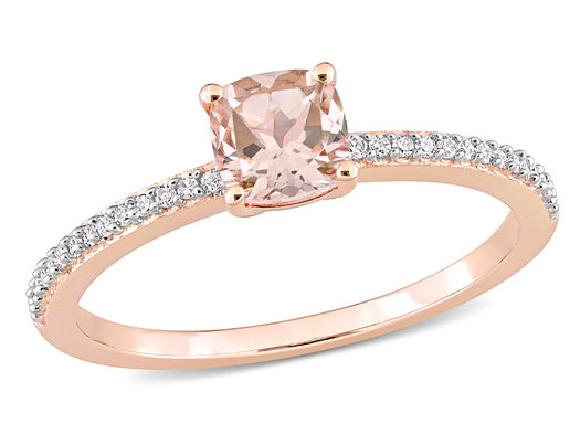 3/5 Carat (ctw) Morganite Ring  in 10K Rose Pink Gold with Diamonds