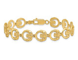 14K Yellow Gold Claddagh Circle Vertical Link Bracelet (7.25 Inches)