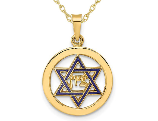 14K Yellow Gold Star of David Pendant Necklace with Chain