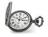 Charles Hubert Antique Chrome Finish 2 Horses Pocket Watch