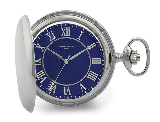 Charles Hubert Chrome Finish Blue Dial Quartz Pocket Watch