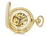 Swingtime Gold-finish Brass Mechanical Gear View Pocket Watch 42mm