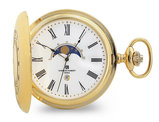 Charles Hubert Gold Plated Finish Open Window Moon Phase Pocket Watch