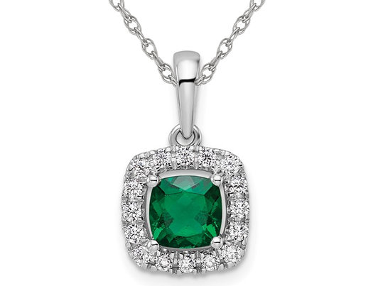 4/5 Carat (ctw) Lab-Created Emerald Halo Pendant Necklace in 14K White Gold with Chain with Lab-Grown Diamonds