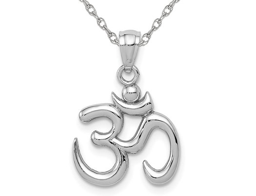 Ohm Symbol Pendant Necklace in 14K Yellow Gold (OM)