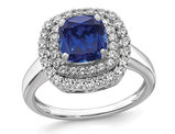 1.40 Carat (ctw) Lab-Created Sapphire Cushion-Cut Halo Ring in 14K White Gold with Lab-Grown Diamonds
