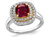1.40 Carat (ctw) Lab-Created Ruby Cushion-Cut Halo Ring in 14K White Gold with Lab-Grown Diamonds