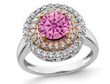 1.50 Carat (ctw) Lab-Created Pink Sapphire Halo Ring in 14K White Gold with Lab-Grown Diamonds