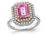 2.30 Carat (ctw) Lab-Created Pink Sapphire Engagement Ring in 14K White Gold with Lab Grown Diamonds