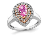 1.00 Carat (ctw) Lab-Created Pink Sapphire Teardrop Ring in 14K White Gold with Lab-Grown Diamonds