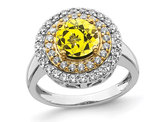 1.50 Carat (ctw) Lab-Created Yellow Sapphire Halo Ring in 14K White Gold with Lab-Grown Diamonds