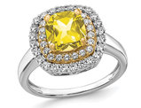 1.40 Carat (ctw) Lab-Created Yellow Sapphire Halo Ring in 14K White Gold with Lab-Grown Diamonds