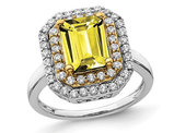 2.30 Carat (ctw) Lab-Created Yellow Sapphire Engagement Ring in 14K White Gold with Lab Grown Diamonds