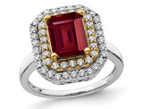 2.30 Carat (ctw) Lab-Created Ruby Engagement Ring in 14K White Gold with Lab Grown Diamonds